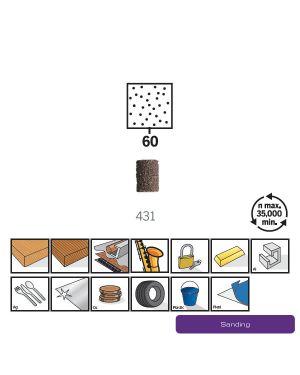 """ปลอกกระดาษทราย 1/4"""" #60 6Pcs 431 US Dremel"""